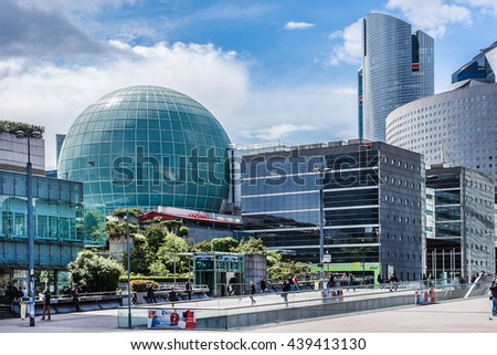PARIS, FRANCE - MAY 13, 2014: View of business district of Defense to the west of Paris. Defense is biggest business district in France and most of large companies have offices here.