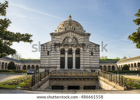 PARIS, FRANCE - MAY 2, 2016: View of Pere Lachaise. World's most visited cemetery, attracting thousands of visitors to graves of those who have enhanced French life over past 200 years.