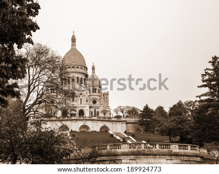 Paris, France, May 1, 2013 . View of Sacre Coeur on Montmartre hill