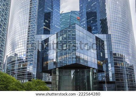 PARIS, FRANCE - MAY 13, 2014: View of Societe Generale headquarter (SG) tours in La Defense district, Paris. Societe Generale is a French multinational banking and financial services company. - stock photo