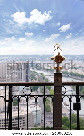 Paris,France - 27 May, 2014 :View to Paris and Seine from Eiffel tower, Eiffel Tower telescope overlooking for Paris, France - stock photo