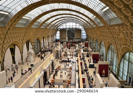 Paris, France - May 14, 2015: Visitors in the Musee d'Orsay in Paris, France. on May 14, 2015, The museum houses the largest collection of impressionist and post-impressionist masterpieces. - stock photo