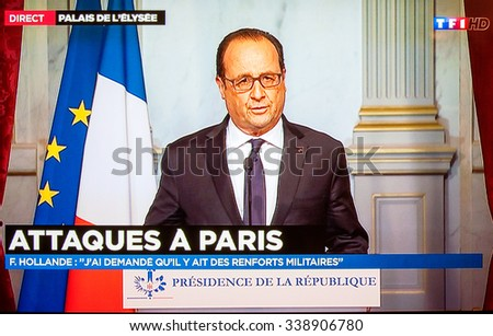 PARIS, FRANCE - NOV 13, 2015: Francois Hollande at French Television address to the Nation on the Terrorist Attacks. At least 40 people were killed across Paris, with explosions outside the stadium - stock photo