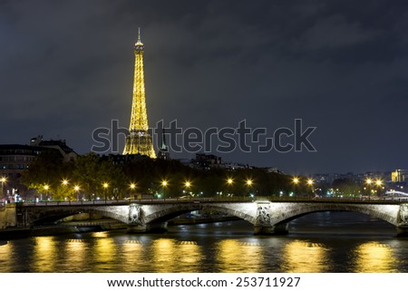 PARIS,FRANCE-NOV 23:The Eiffel Tower Erected in 1889 as the entrance arch to the 1889 World's Fair and is 324 metres tall and has become a cultural icon of France,November  23, 2014 in Paris,France