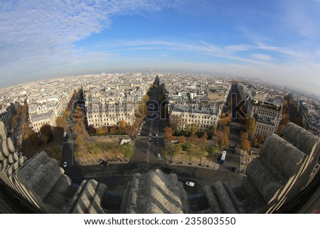 PARIS, FRANCE - NOVEMBER 22, 2014: Aerial View from the Top of Arc de Triomphe to Paris. - stock photo