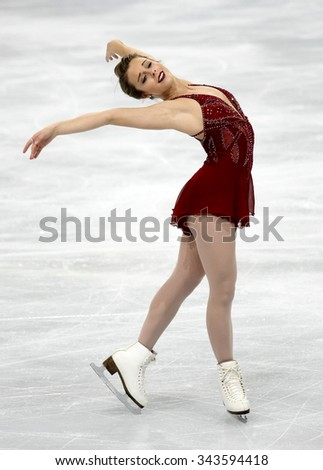 PARIS, FRANCE - NOVEMBER 16, 2013: Ashley WAGNER of USA performs free program at Trophee Bompard ISU Grand Prix at Palais Omnisports de Bercy. - stock photo