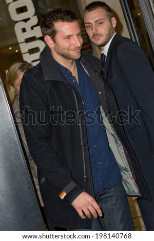 PARIS, FRANCE - NOVEMBER 30, 2011 - Bradley Cooper before the recording studios of the French radio Europe 1