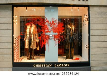 Paris, France - 3 November 2002: Christian Lacroix's clothing store at Paris on France - stock photo