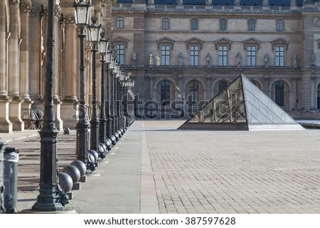 Paris, France- November 15, 2015. Courtyard and facade of Louvre Museum. Image taken on November 15th 2015.
