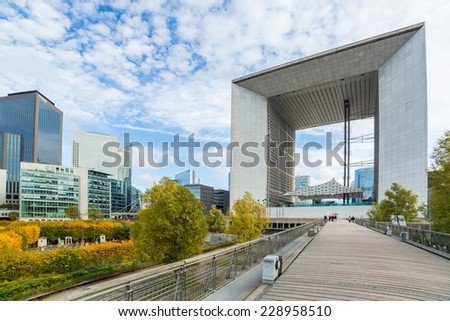 PARIS FRANCE NOVEMBER 2: district La Defense on November 2, 2014 in Paris. It is Europes largest business district with 72 glass and steel buildings and skyscrapers - stock photo