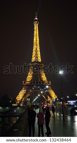 PARIS, FRANCE - NOVEMBER 09: Eiffel tower at night on November 09, 2012. Paris is a capital of France and Eiffel tower is symbol of this beautiful and popular city