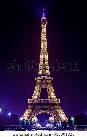 Paris, France - November 19, 2014: Eiffel Tower by Night City lights - stock photo