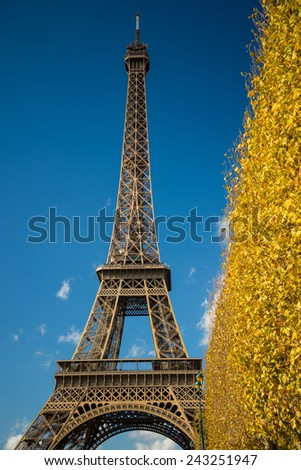 PARIS, FRANCE - NOVEMBER 9, 2014 Eiffel Tower over blue sky and fall leaves, main tourist atraction in Paris, France.