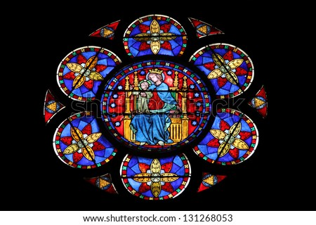 PARIS, FRANCE - NOVEMBER 05, 2012: famous Notre Dame cathedral stained glass. UNESCO World Heritage Site. Paris, France on November 05, 2012