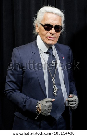 PARIS, FRANCE - NOVEMBER 9, 2011 - Karl Lagerfeld during the light period of Paris for Christmas. They inaugurated the store windows of the department store Printemps Haussmann. - stock photo