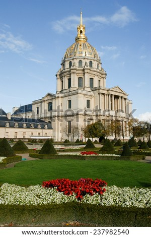 Paris, France - 4 November 2002: Les Invalides is a complex of museums and tomb in Paris - military history museum of France and tomb of Napoleon Bonaparte