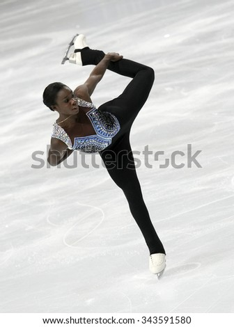PARIS, FRANCE - NOVEMBER 16, 2013: Mae Berenice MEITE of France performs free program at Trophee Bompard ISU Grand Prix at Palais Omnisports de Bercy. - stock photo
