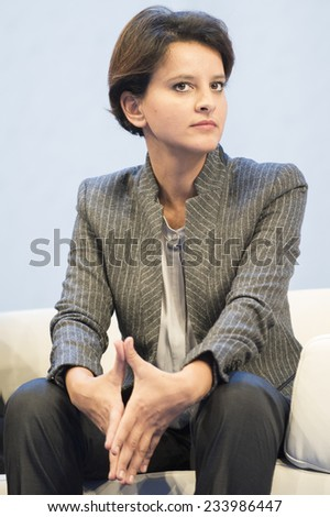 PARIS, FRANCE - NOVEMBER 26, 2014 : Najat Vallaud-Belkacem during a debate about undid the school rebuilding the 97th congress of France mayors in exhibition center of porte de versailles