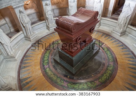Paris, France -November 11 2015. Napoleon's tomb at the Invalides. Image taken on November 11th 2015