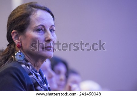 PARIS, FRANCE - NOVEMBER 28, 2014 : Segolene Royal during the environmental conference organized by her ministry under COP21 - stock photo