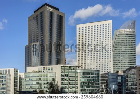 PARIS, FRANCE - NOVEMBER 12, 2014: Skyscrapers in business district of Defense to the west of Paris. Defense is biggest business district in France and most of large companies have offices here.