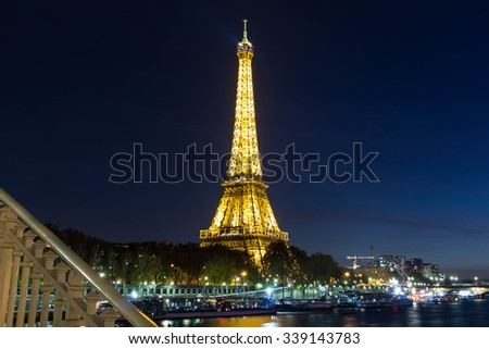 Paris, France-November 09, 2015: The Eiffel tower is a famous monument located on Champ de Mars in Paris, France.