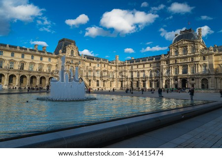 Paris, France -November 9, 2014: The Louvre Museum is one of the world's largest museums and the most popular tourist destinations in France.