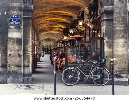 Paris, France - november 18, 2014: urban street view in Paris. Bistro cafe parisian - stock photo