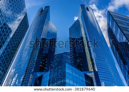 PARIS, FRANCE - NOVEMBER 12, 2014: View of Societe Generale headquarter (SG) in La Defense district. Societe Generale is a French multinational banking and financial services company. - stock photo