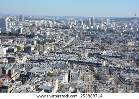 PARIS FRANCE OCT 16: Bird eye view from Basilica of the Sacred Heart, Paris has a population of 2,249,975 but its metropolitan area is one of the largest population centres in Europe on 10 16 2014.