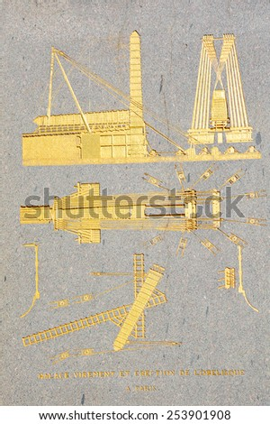 PARIS FRANCE OCT 17: Detail of the pedestal.of Luxor Obelisk is an Egyptian obelisk standing at the center of the Place de la Concorde in Paris, France. Paris, France on Oct 17, 2014 in Paris, France - stock photo