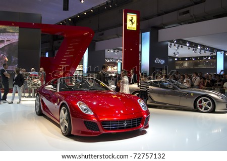 PARIS, FRANCE - OCT 10:  Ferrari SA APERTA Limite Edition (80 in the whole world) on display at the Paris Motor Show at Porte de Versailles on October 10, 2010 in Paris France. - stock photo
