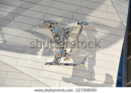 PARIS FRANCE OCT 19: Logo of building of the Louis Vuitton Foundation started in 2006 an art museum and cultural center the $143 million museum has recently been completed in Paris France oct, 19 2014 - stock photo
