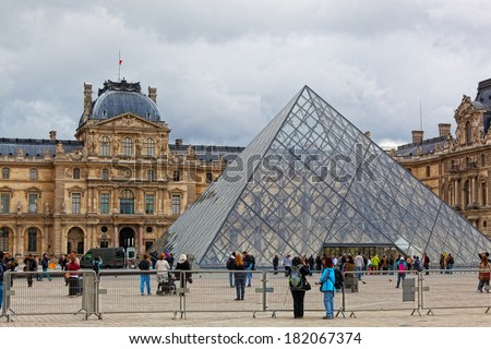 PARIS, FRANCE - 2 OCT:panorama Luvra, Paris, France, on October 2, 2012. Louvre - one of the largest museums of the world (the third in the world on the occupied space: 160 106 square meters)