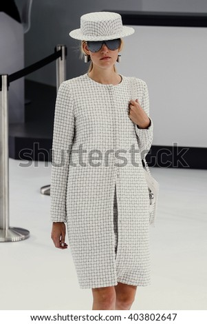 PARIS, FRANCE - OCTOBER 06: A model walks the runway during the Chanel show as part of the Paris Fashion Week Womenswear Spring/Summer 2016 on October 6, 2015 in Paris, France.