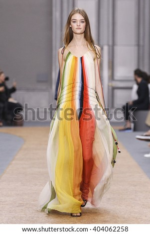 PARIS, FRANCE - OCTOBER 01: A model walks the runway during the Chloe show as part of the Paris Fashion Week Womenswear Spring/Summer 2016 on October 01, 2015 in Paris, France. - stock photo