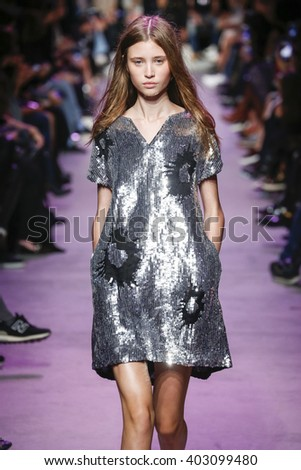 PARIS, FRANCE - OCTOBER 06: A model walks the runway during the Paul and Joe show as part of Paris Fashion Week Womenswear Spring/Summer 2016 on October 6, 2015 in Paris, France. - stock photo