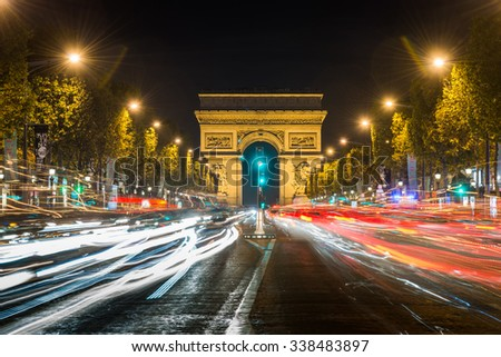 Paris, France - 15 October 2014. Arc de triomphe Paris city at nightt - Arch of Triumph and Champs Elysees. Long Exposure
