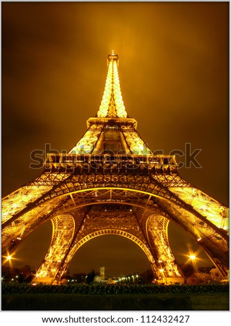 PARIS, FRANCE - OCTOBER 26: Ceremonial lighting of the Eiffel tower on October 26, 2006 in Paris, France. The Eiffel tower is the most visited monument of France.