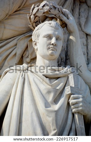 PARIS, FRANCE OCTOBER 17: Details of Triumphal Arch de l Etoile ( arc de triomphe) . The monument was designed by Jean Chalgrin in 1806 in Paris, France on October 17, 2014