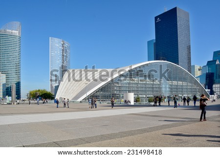 PARIS FRANCE OCTOBER 15: district La Defense on october 15, 2014 in Paris. It is Europes largest business district with 560 hectares area 72 glass and steel buildings and skyscrapers  - stock photo