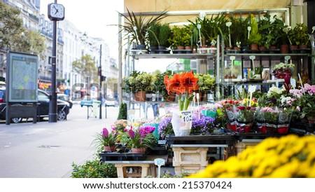 PARIS, FRANCE - OCTOBER 6 : Flower shop at boulevard Montparnasse in Paris at October 6th, 2013 in Paris, France - stock photo
