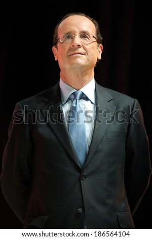 PARIS, FRANCE - OCTOBER 13, 2011 : Francois Hollande meeting at the theater Bataclan for the Socialist primary