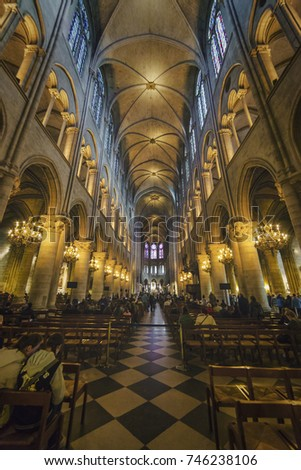 Paris, France; October, 22 2017: General view from the inside of Cathedral Notre Dame de Sion