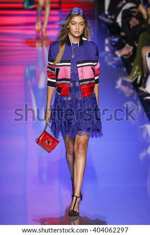 PARIS, FRANCE - OCTOBER 03: Gigi Hadid walks the runway during the Elie Saab show as part of the Paris Fashion Week Womenswear Spring/Summer 2016 on October 3, 2015 in Paris, France.