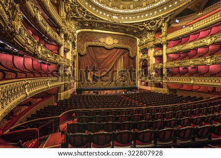 PARIS, FRANCE - OCTOBER 1, 2015 : Inside the auditorium of the Opera Garnier (French National Opera House). - stock photo