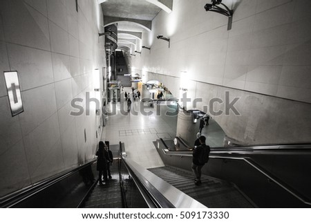 PARIS, FRANCE - OCTOBER 4, 2016: Interior of Bibliotheque Francois Mitterrand RER (metropolitan underground transportation of Paris) station, located near National Library of france,