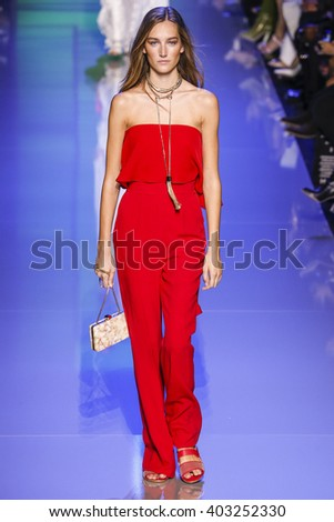 PARIS, FRANCE - OCTOBER 03:  Josephine Le Tutour walks the runway during the Elie Saab show as part of the Paris Fashion Week Womenswear Spring/Summer 2016 on October 3, 2015 in Paris, France.  - stock photo