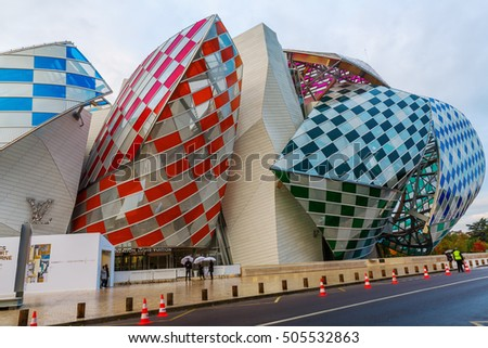 Paris, France - October 20, 2016: Louis Vuitton Foundation in the Parc of Boulogne with unidentified people. It is an art museum and cultural center designed by famous architect Frank Gehry