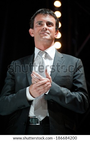 PARIS, FRANCE - OCTOBER 13, 2011 : Manuel Valls during Francois Holland meeting at theater Bataclan for the socialist Primary